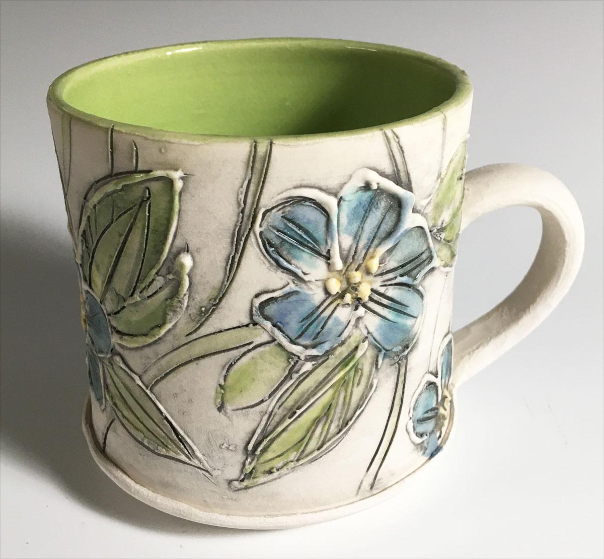 blue floral cup