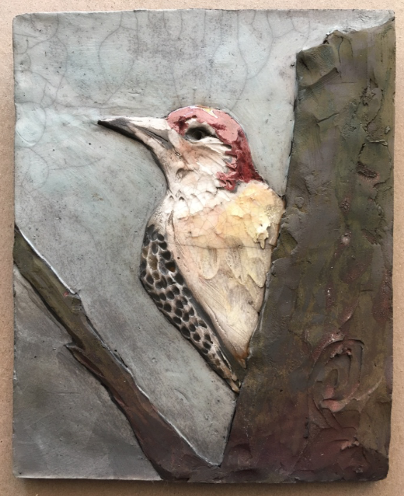 Redbreasted Woodpecker Tile 5x7 $42